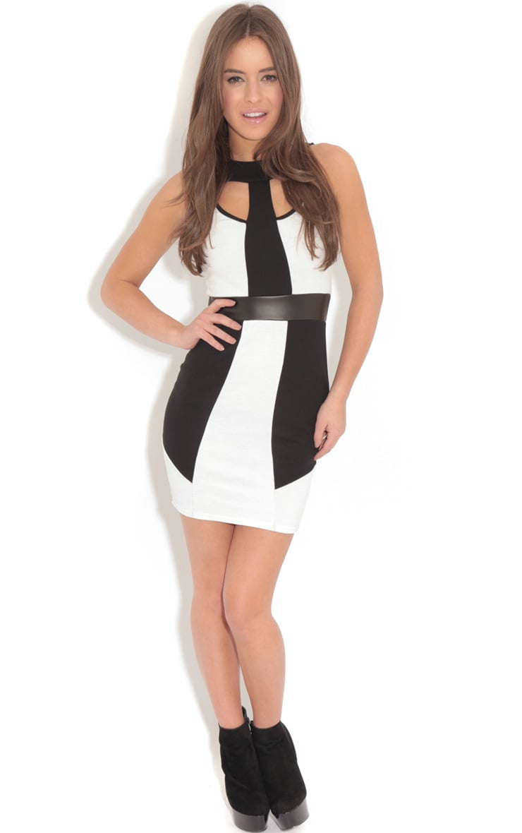 Amber Monochrome Bodycon Midi Dress-L 3