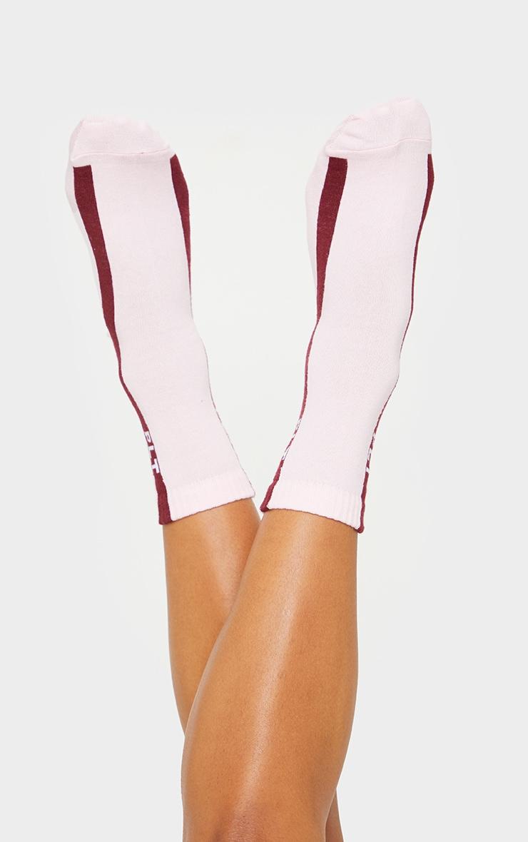 PRETTYLITTLETHING Pink With Burgundy Stripe Socks 2