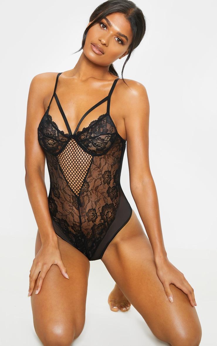 61939493592 Black Delicate Lace Fishnet Panel Body image 1
