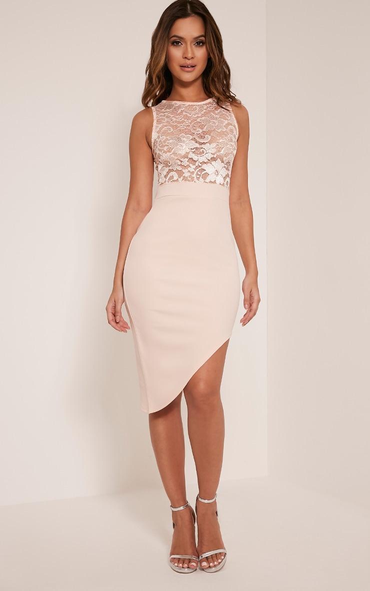 Patsy Nude Lace Top Asymmetric Midi Dress 1