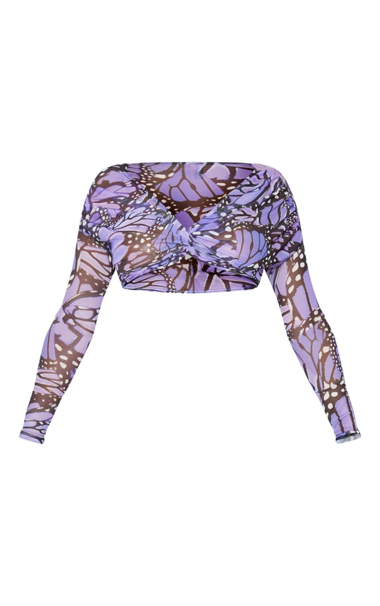 Lilac Butterfly Print Mesh Twist Front Crop Top 5