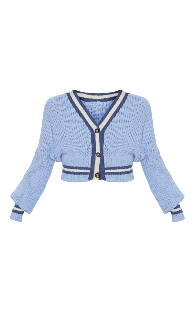 Dusty Blue Crop Extreme Sleeve Cardigan 3