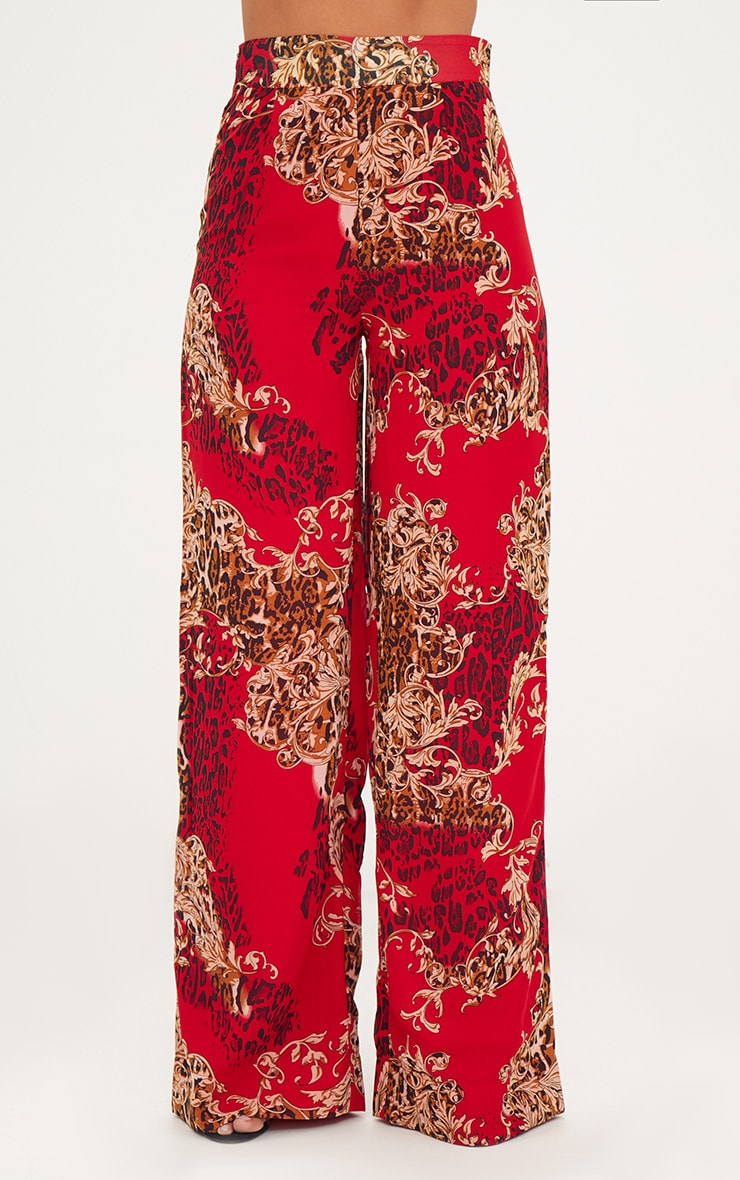 Red Chain Print Wide Leg Trousers 2