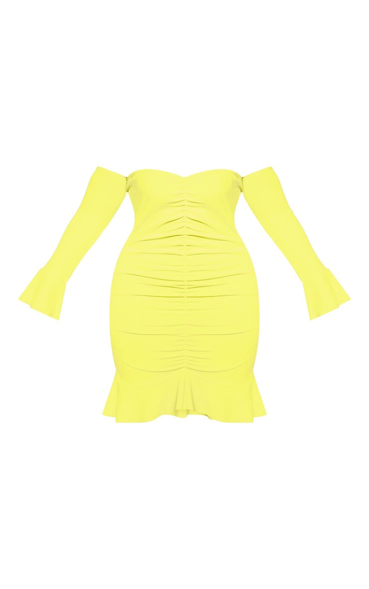 Plus Chartreuse Bardot Ruched Front Bodycon Dress 3