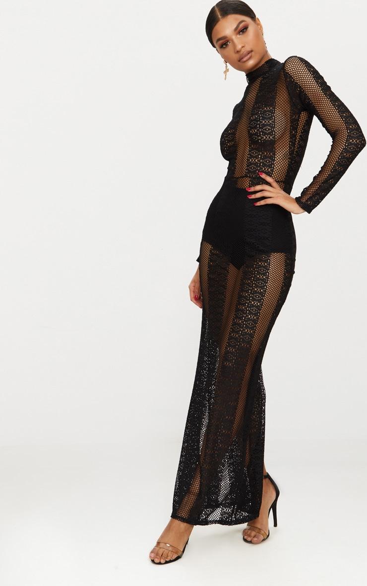 Black Lace Sheer Maxi Dress 4