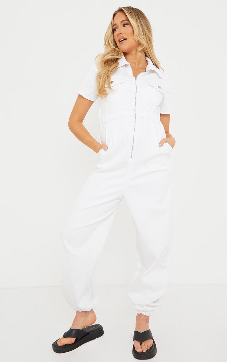 Maternity White Denim Contrast Seam Short Sleeve Jumpsuit  3