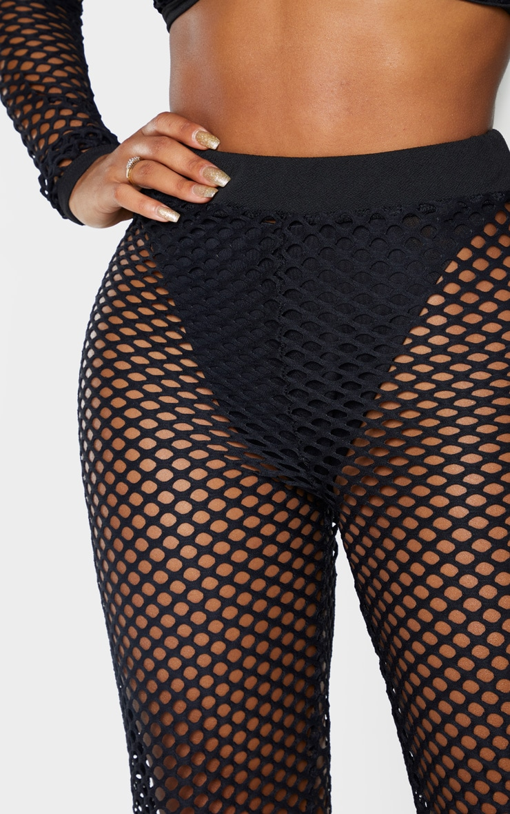 Shape Black Fishnet Wide Leg Pants 5