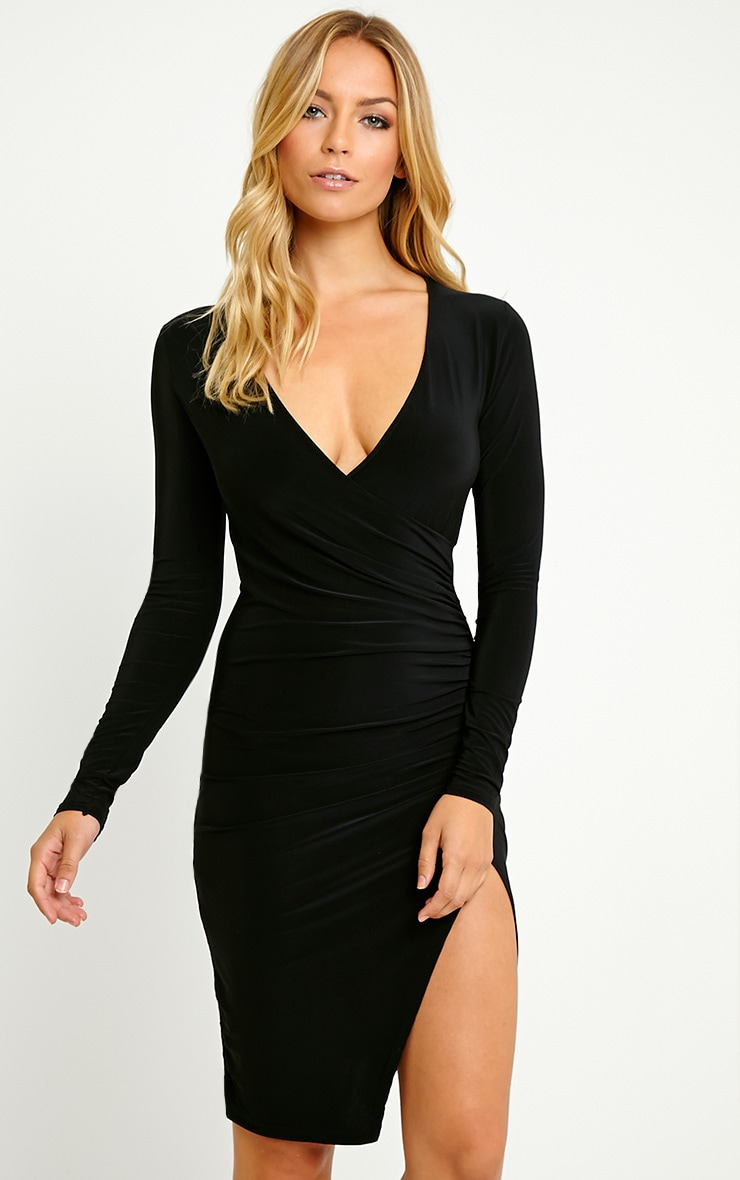Iona Black Slinky Wrap Over Gathered Mini Dress 1