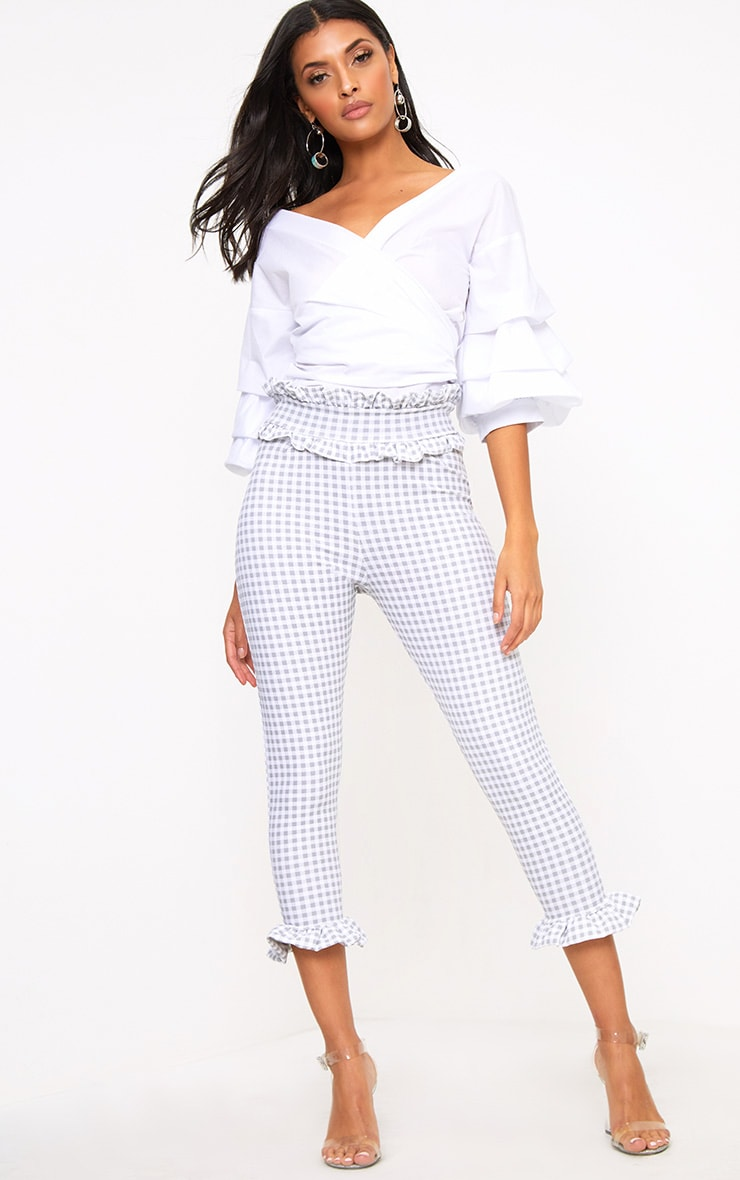 Keren Grey Gingham Frill Trim Trousers 1