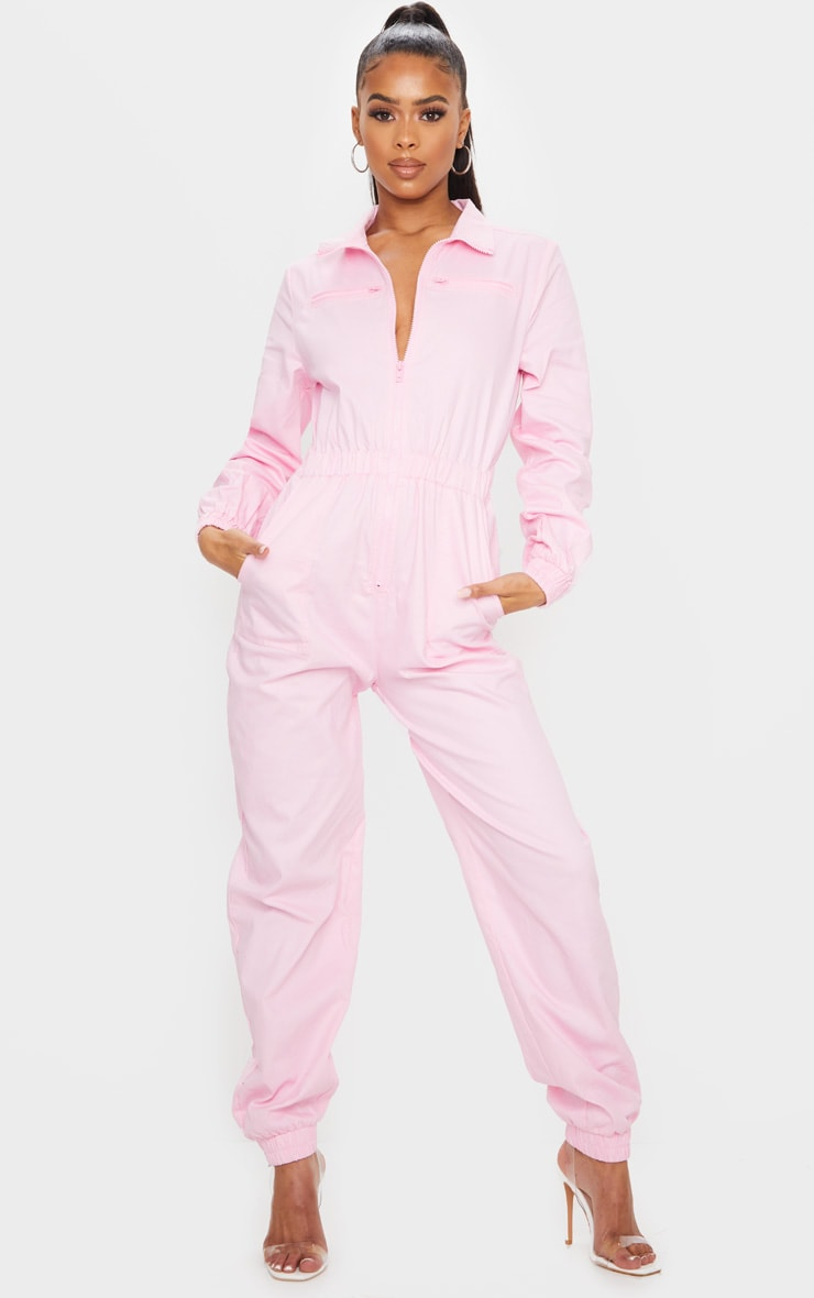 Baby Pink Utility Contrast Zip Jumpsuit 3