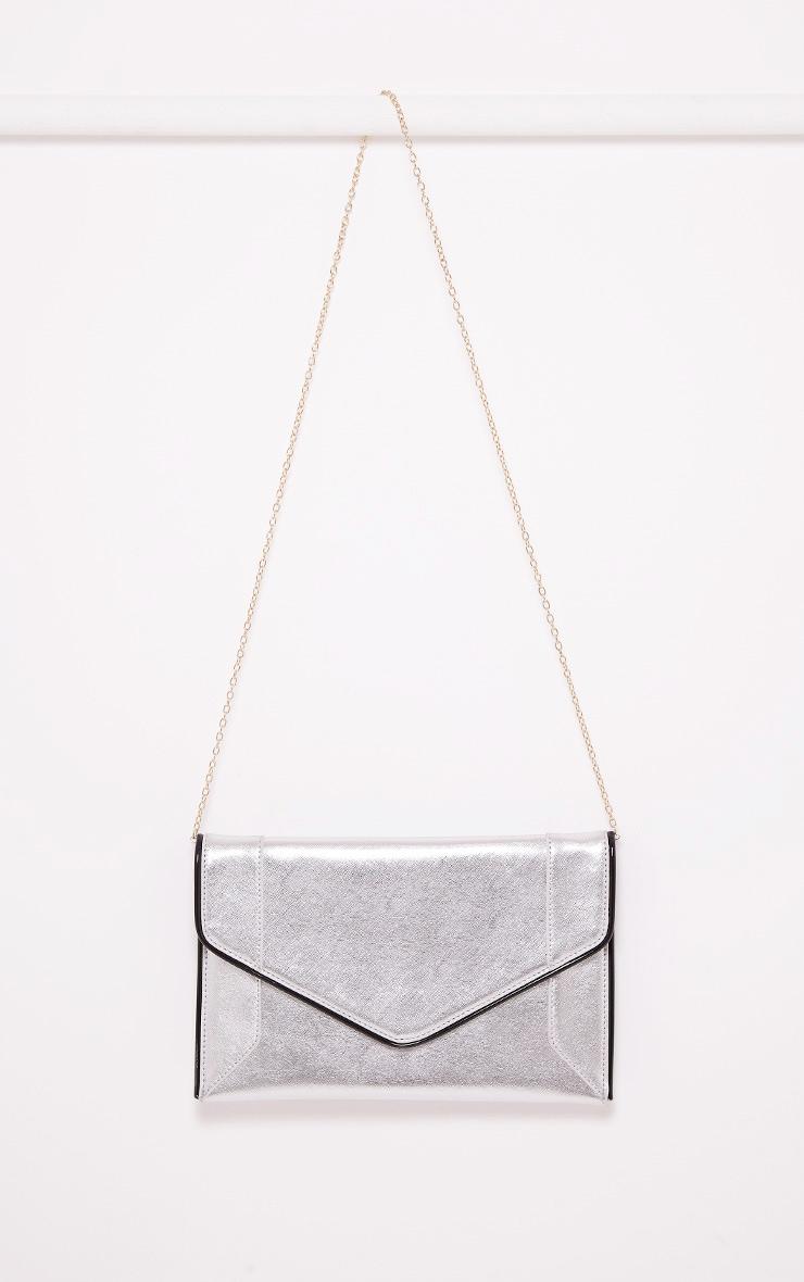Wilona Silver Metallic Envelope Clutch 2