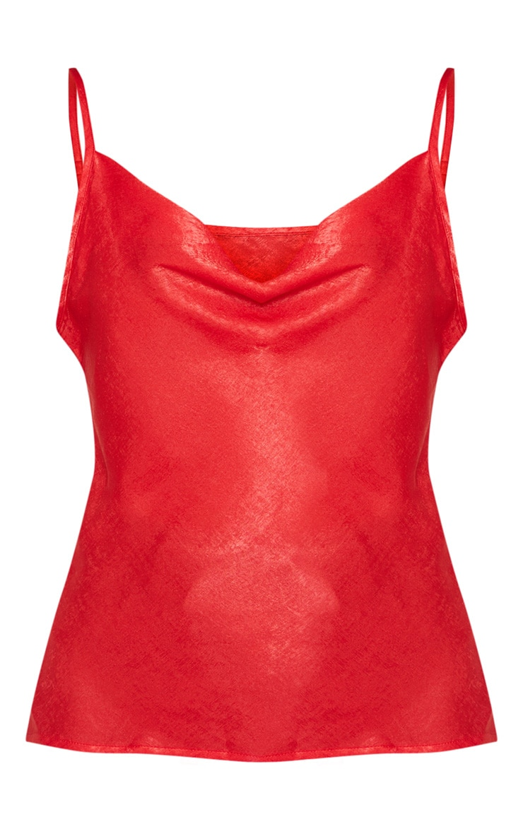 Red Hammered Satin Cowl Cami 3