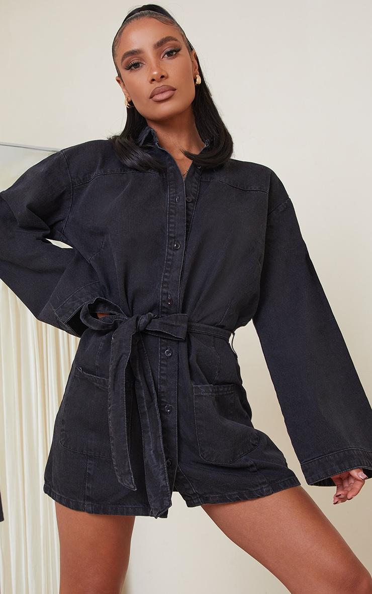 Washed Black Bell Sleeve Tie Waist Denim Dress 1