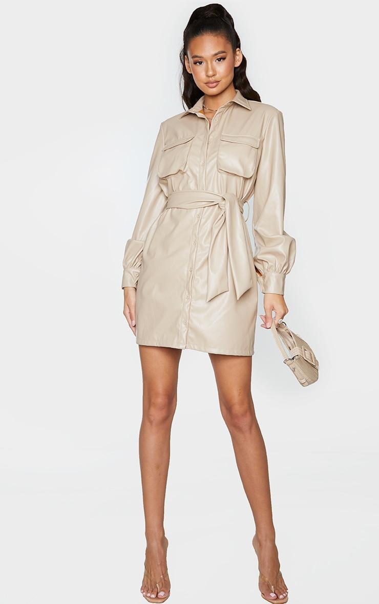 Stone Faux Leather Pocket Detail Shirt Dress 3
