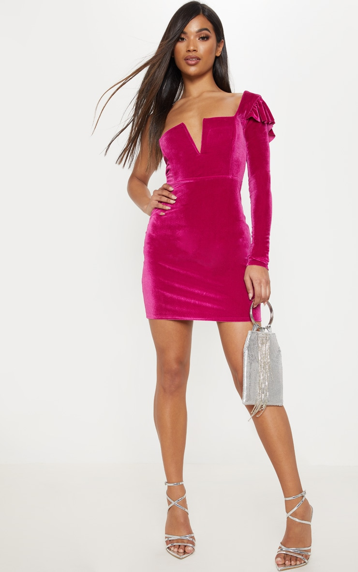 Hot Pink Velvet Plunge One Shoulder Bodycon Dress 4