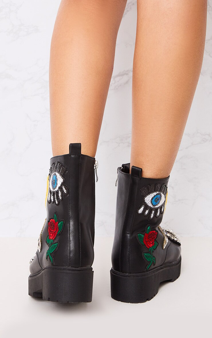 Carinia Black Applique Ankle Boots 4