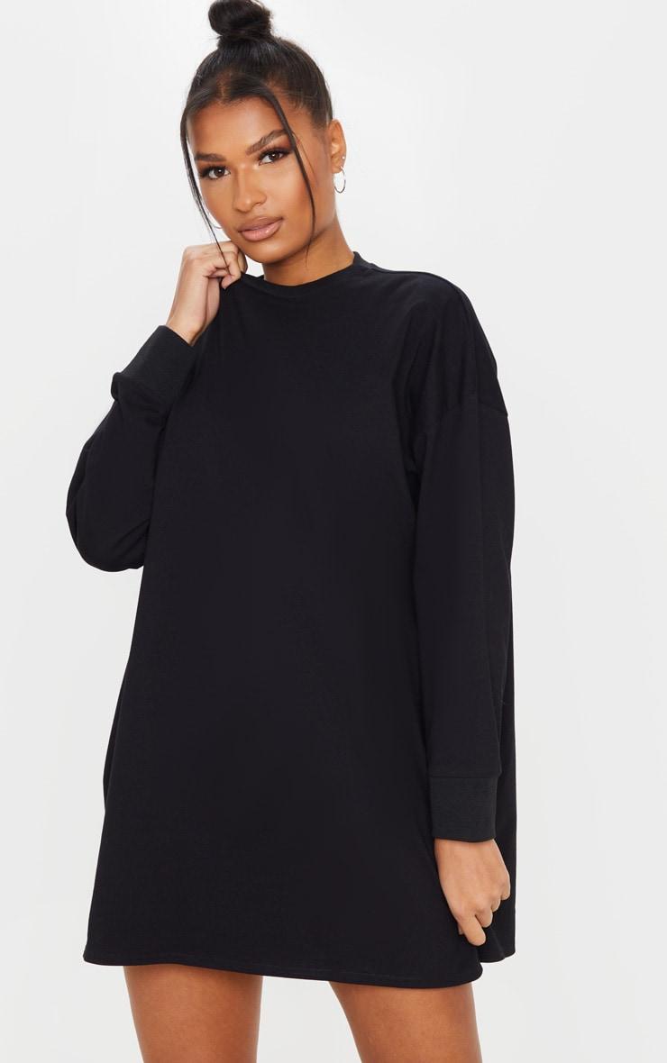 Black Oversized Long Sleeve Crew Neck T Shirt Dress 1