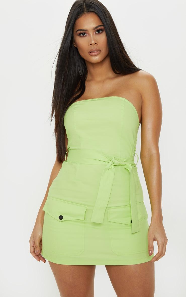 Robe bandeau moulante vert citron style cargo à poches frontales 1