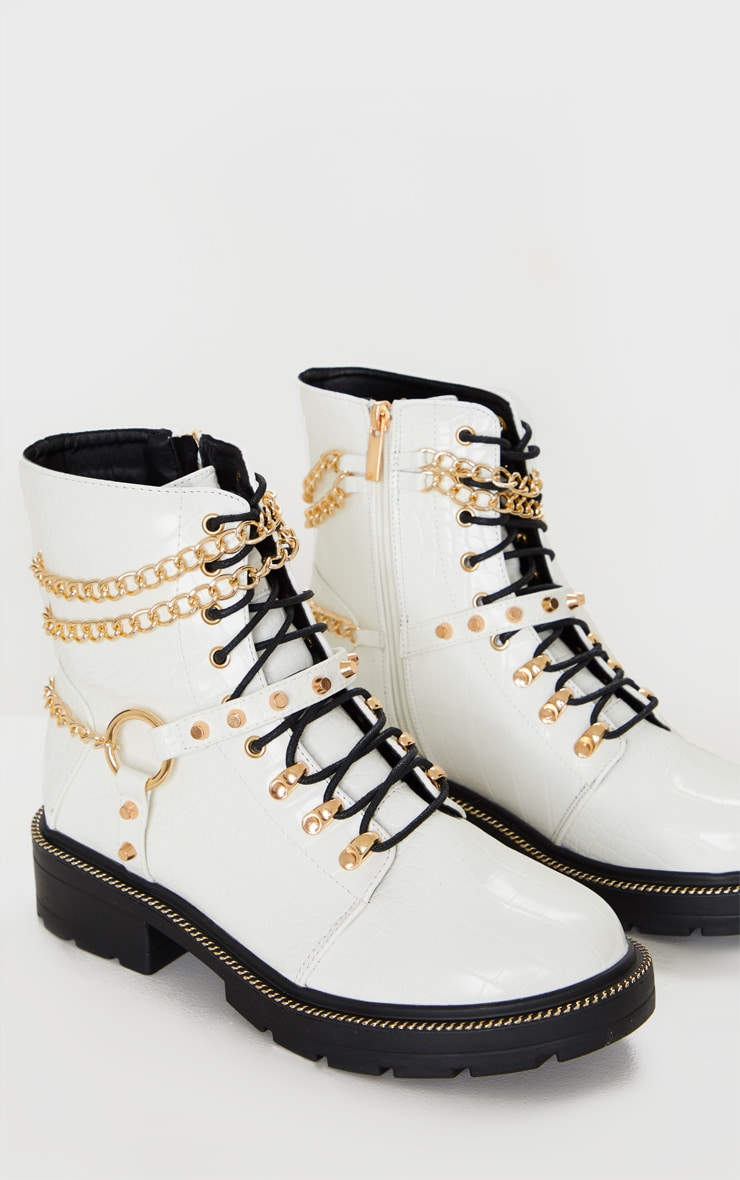 White Chain Hiker Lace Up Ankle Boot 3