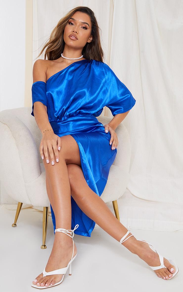 Colbalt Satin One Shoulder Ruched Skirt Midi Dress 1