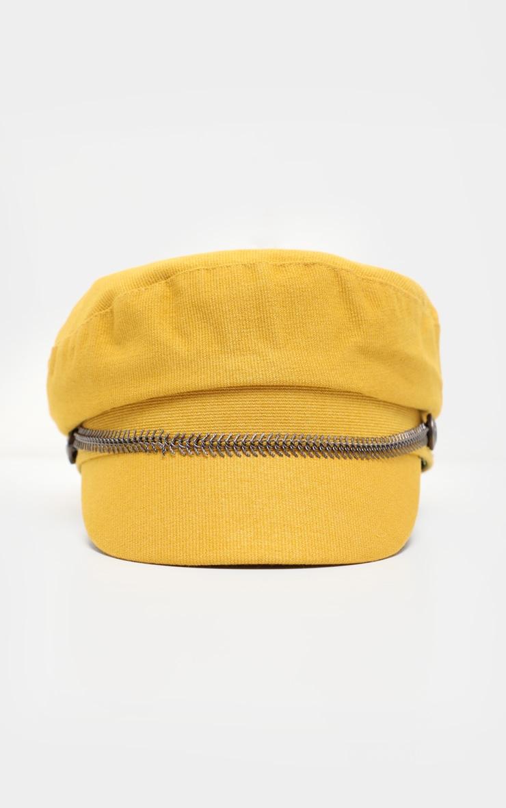 Mustard Baker Boy Hat With Gun Metal Grey Trim 2