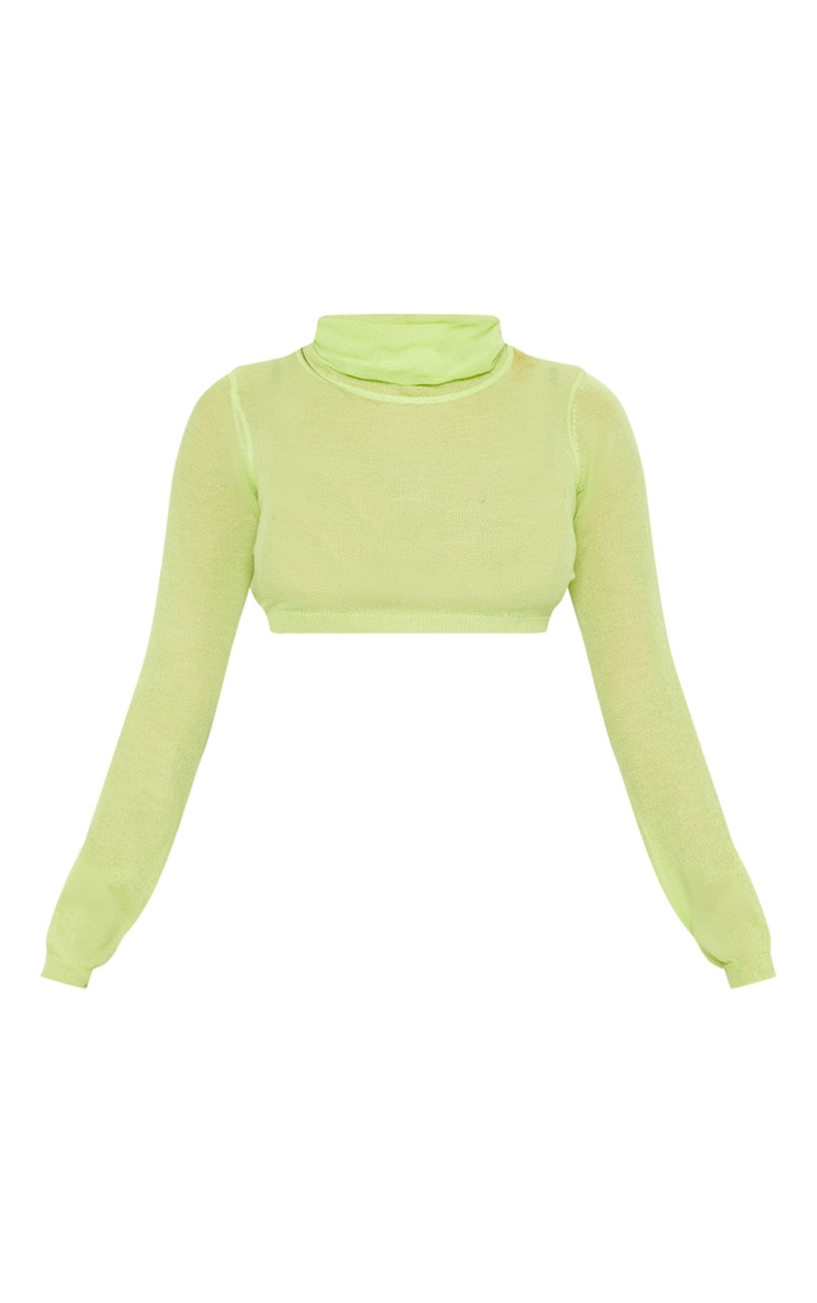 Lime Knitted Light Weight High Neck Top  3