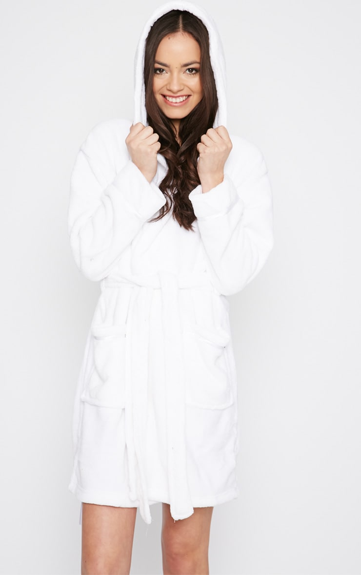 Erin White Fleece Dressing Gown  1