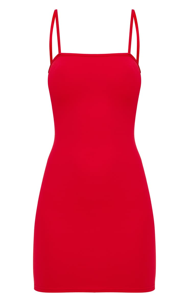 Red Straight Neck Bodycon Dress 3