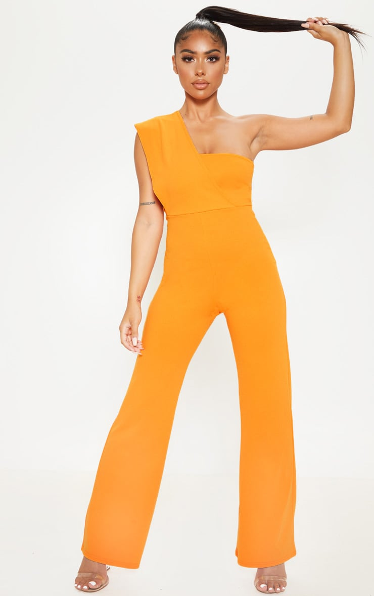Petite Orange Drape One Shoulder Jumpsuit 1