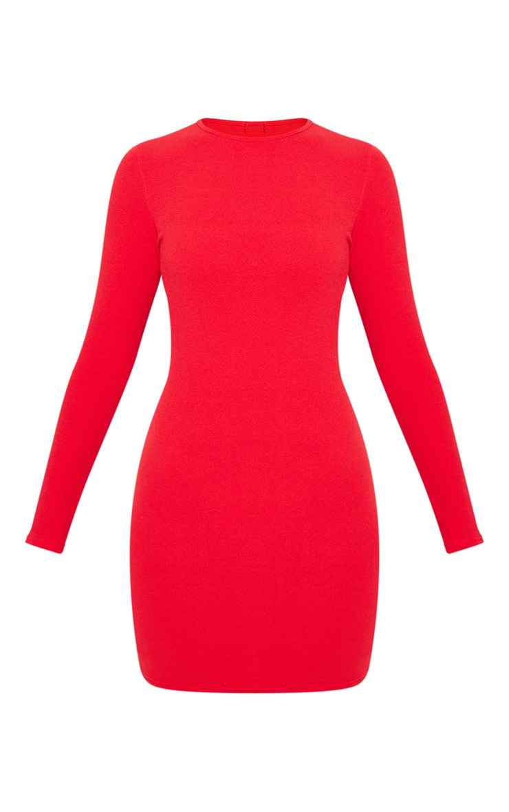 Red Long Sleeve Bodycon Dress 4