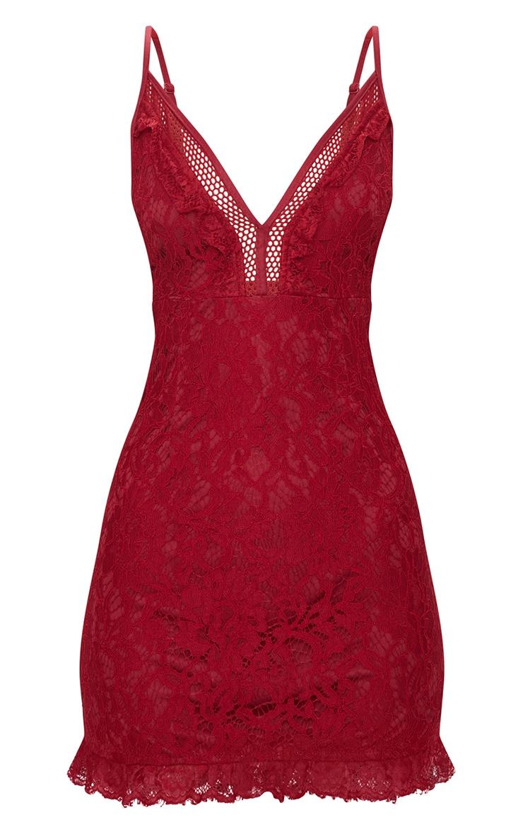 Burgundy Strappy Lace Shift Dress 3