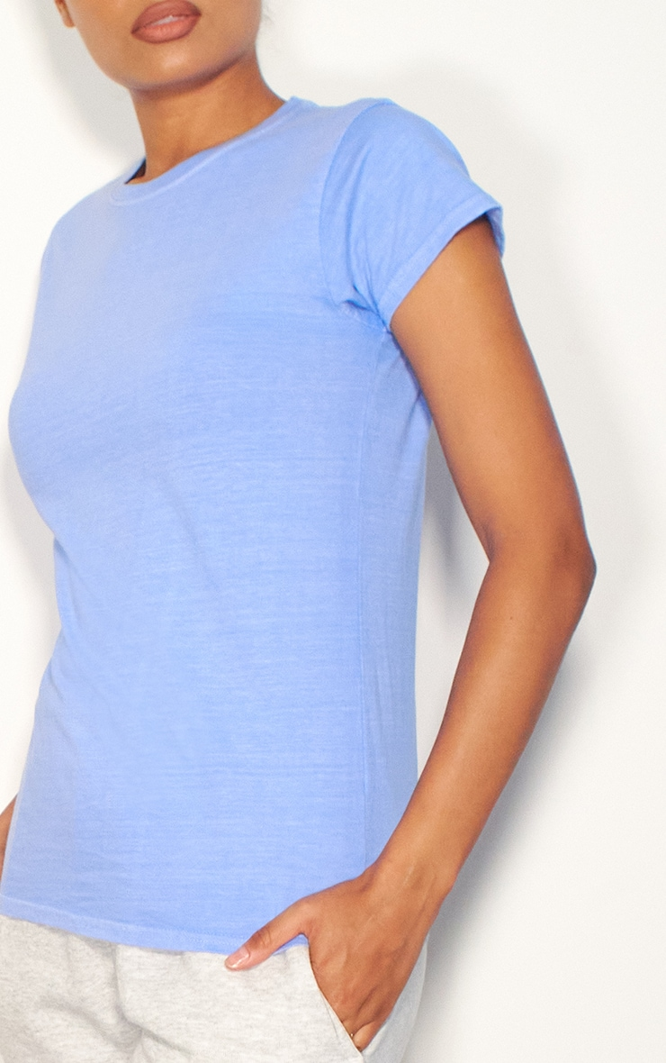 Baby Blue Washed Fitted T Shirt 4