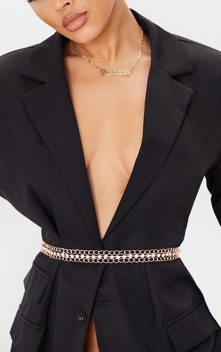 Gold Double Hoop Chain Middle Diamante Trim Belt 1