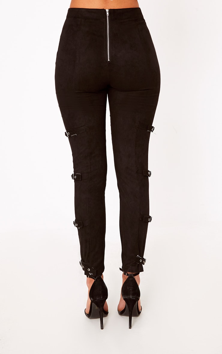 Avi Black Faux Suede Buckle Trousers  4