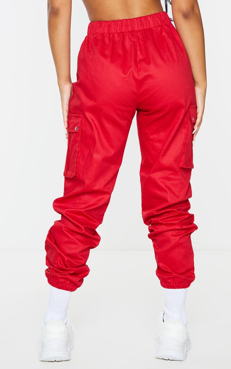 Petite Red Pocket Detail Cargo Pants 3