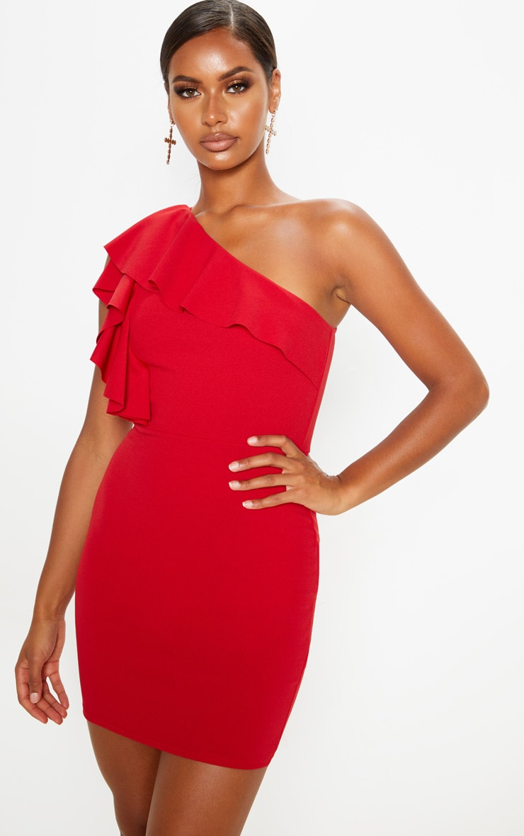 Scarlet One Shoulder Frill Detail Bodycon Dress 4