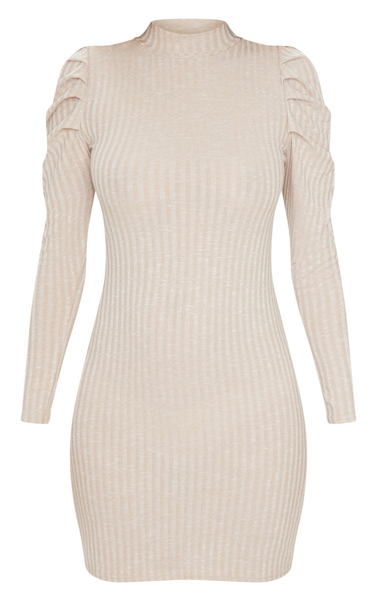 Oatmeal Puff Shoulder Funnel Neck Rib Knitted Dress 5