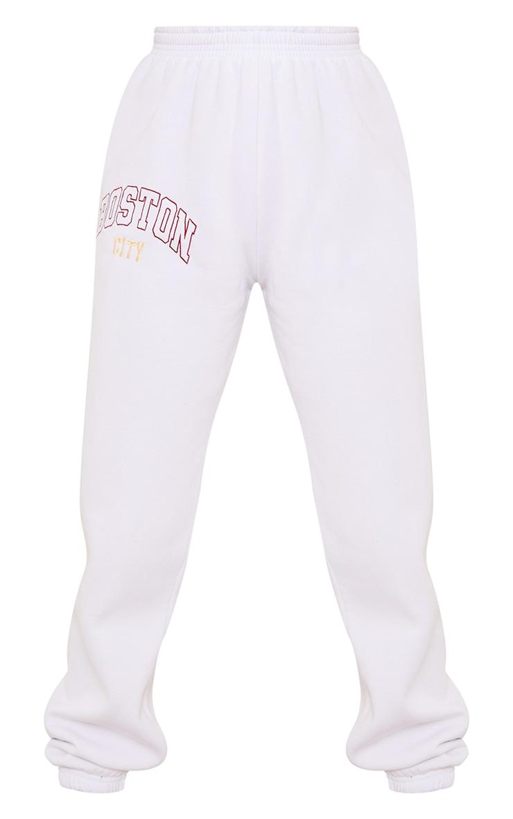 White Boston Embroidered Joggers 5