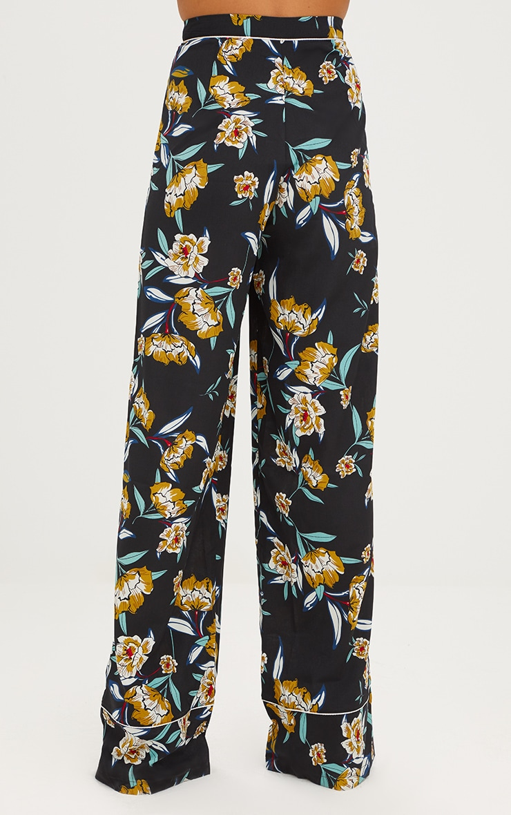 Black Contrast Piping Floral Wide Leg Trousers 4