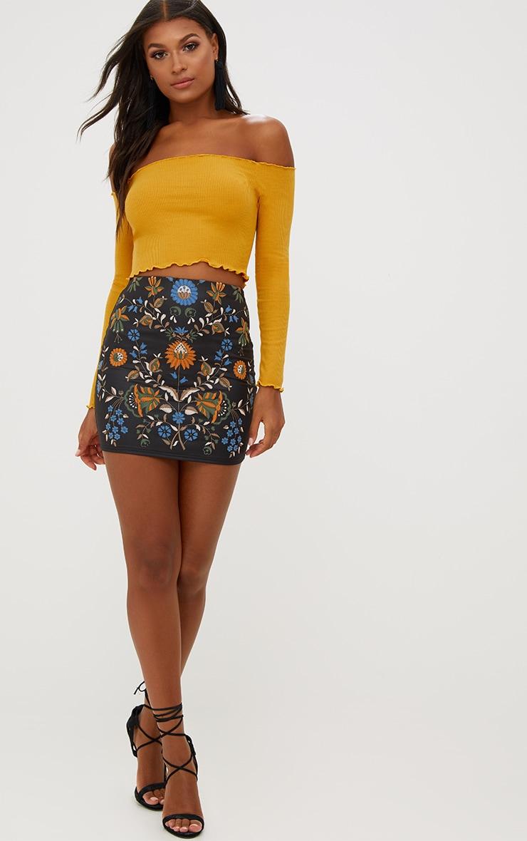 Black PU Floral Embroidery Print Mini Skirt 5