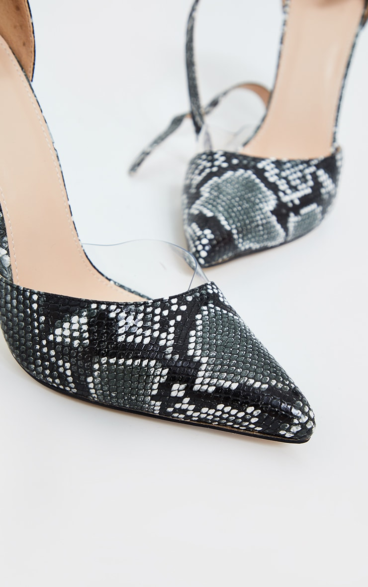 Black Double Ankle Strap Point Court Shoes 2