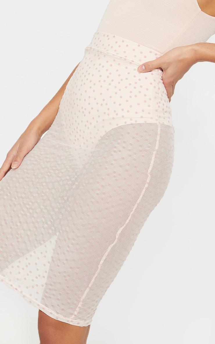 Petite Nude Mesh Polkadot Midi Fitted Skirt 6