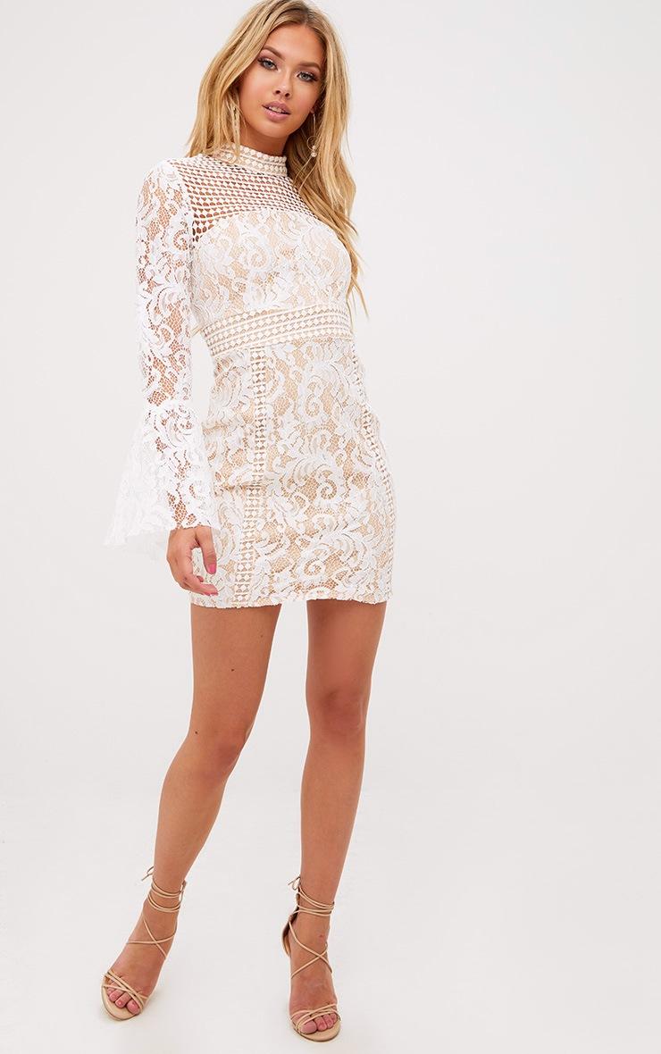 White Crochet Lace Flared Cuff  Bodycon Dress 4