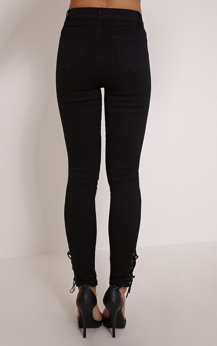 Desy Black Lace Up Ankle Jean 3