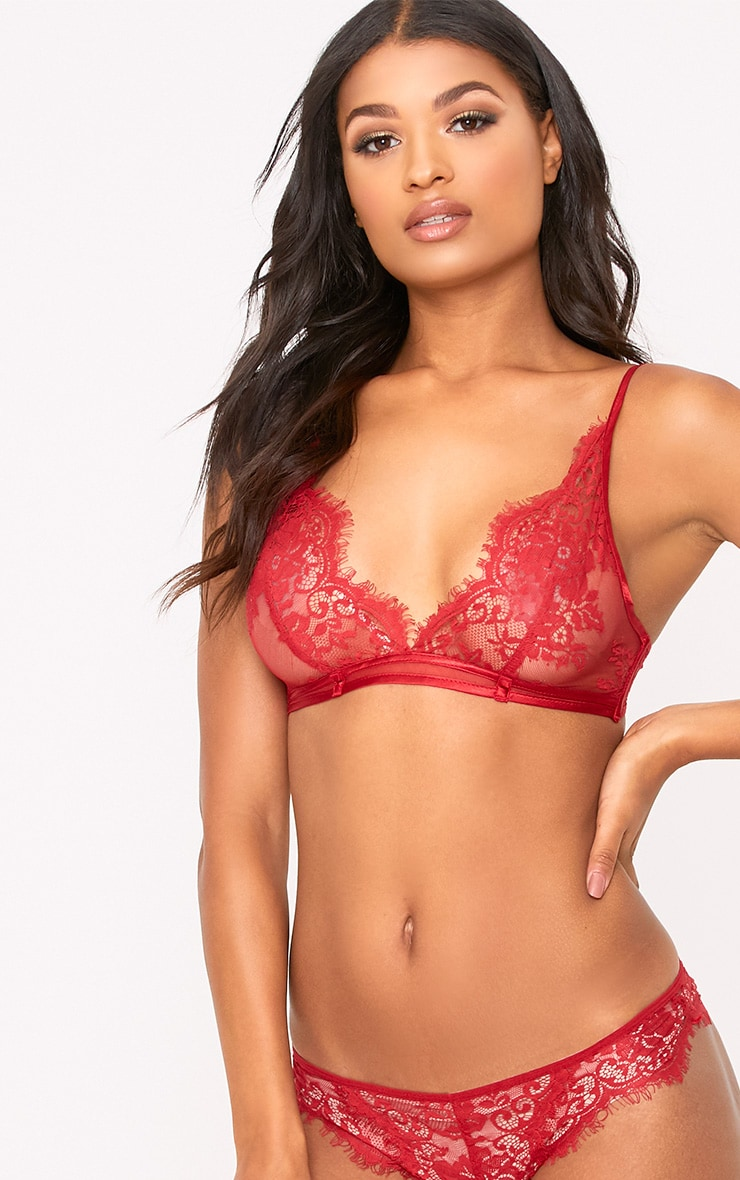 Wendy Red Sheer Lace Brazilian  1