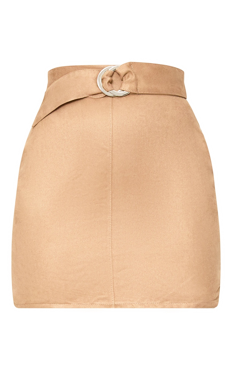 Stone Faux Suede Belted Mini Skirt 3
