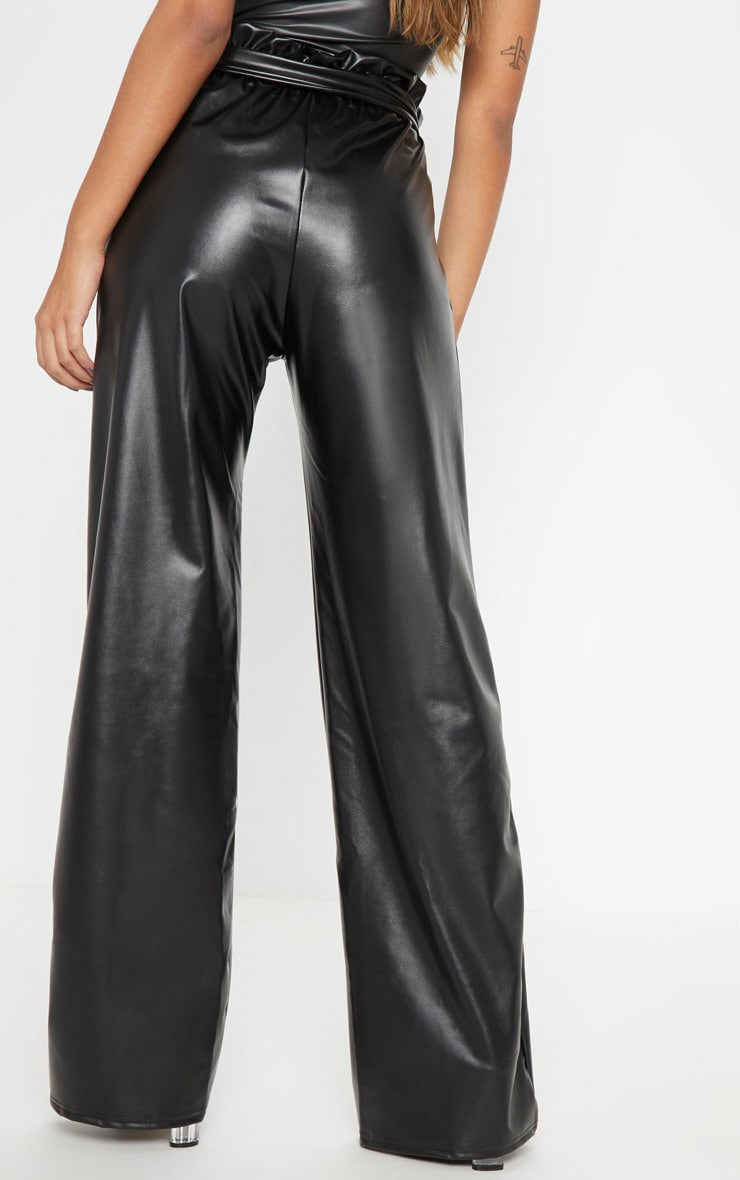 Black Faux Leather Belted Waist Wide Leg Trouser 4