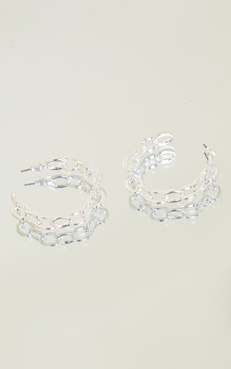 Silver Small Chain Hoop Earrings 3
