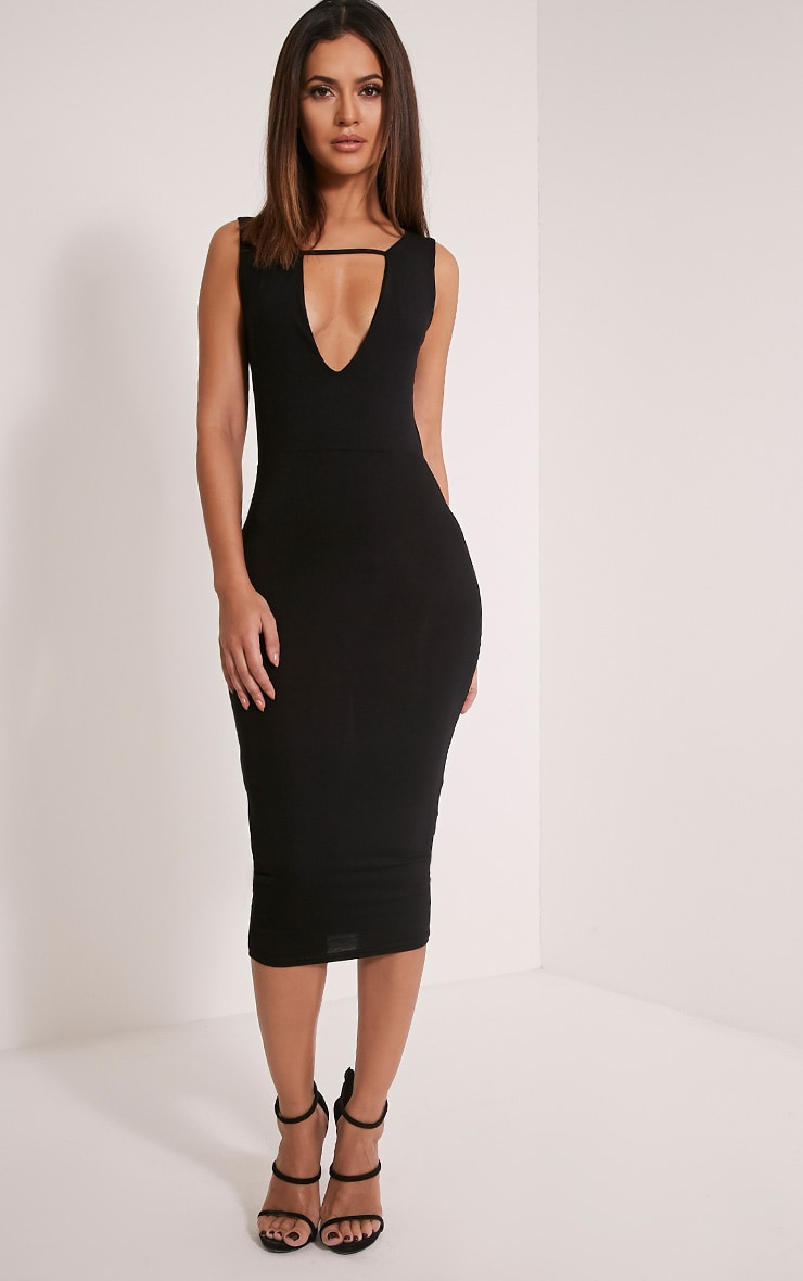 Basic Black Strap Detail Plunge Midi Dress 1