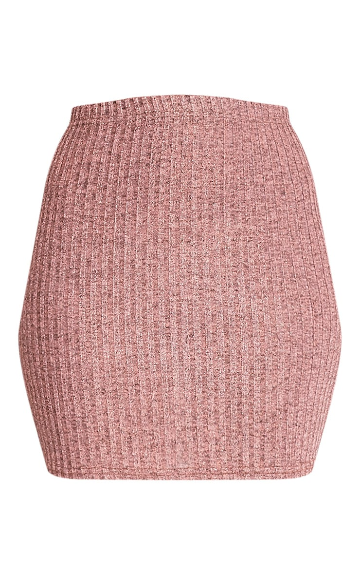 Kristine Rose Gold Ribbed Mini Skirt 3